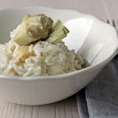 Risotto with ORGANIC ARTICHOKES WITH STEM and crescenza (cheese)